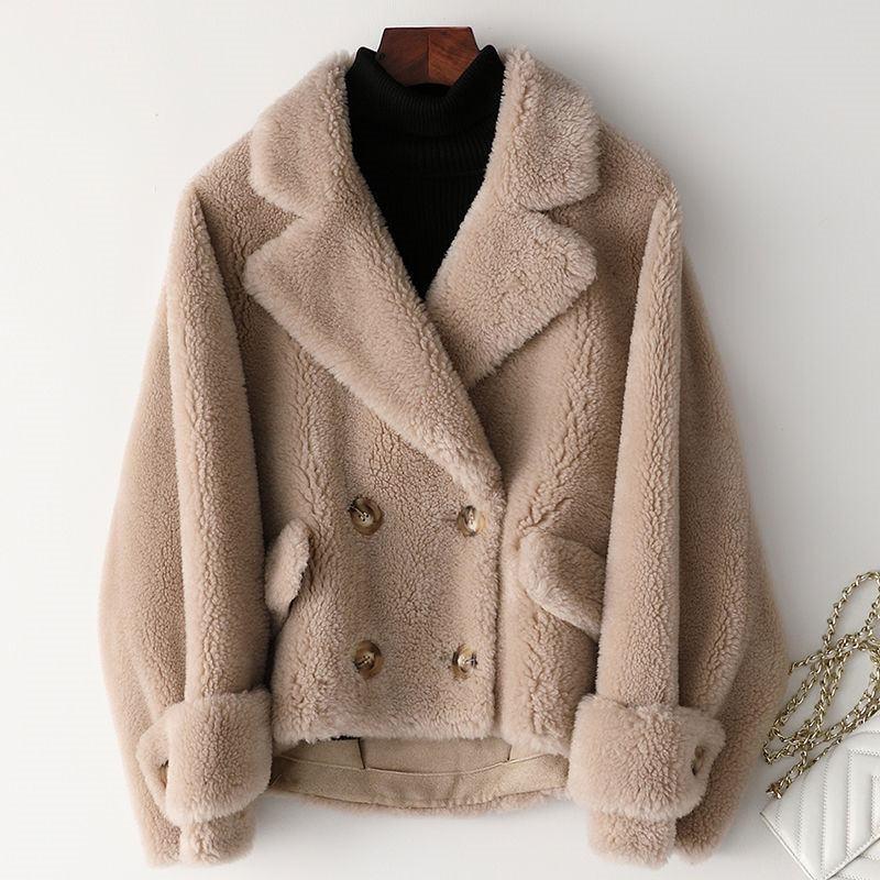 Women 2019 Winter Real Sheep Shearing Lamb Fur Coat Female Genuine Wool Coat Suede Leather Liner Abrigos Mujer Invierno K316