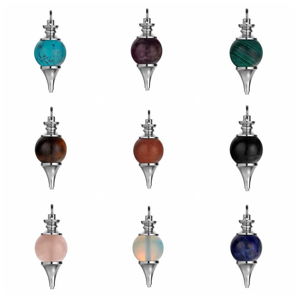 Ashmita esfera de pedra natural pingente, esfera de cristal de 18mm, pingentes chakra para fazer jóias faça você mesmo, pulseira, chaveiro