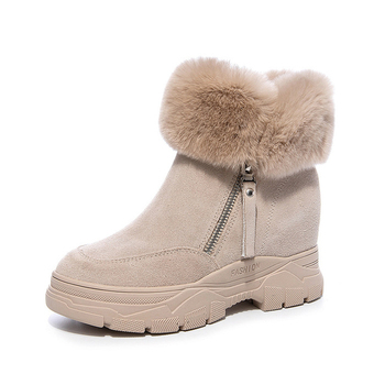 Women Snow Boots Winter Shoes Warm Plush Hidden Heel Ankle For Woman Zip Genuine Leather Ladies Black Boot - discount item  10% OFF Women's Shoes