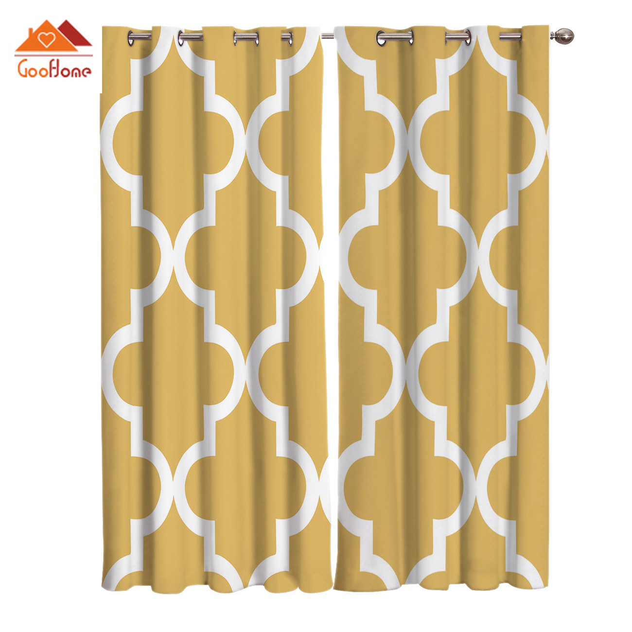 Geometric Lattice Prismatic Moroccan Style Yellow Window Curtains Living Room Outdoor Fabric Drapes Curtain Home Decor