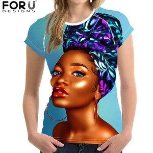 FORUDESIGNS, Camiseta con estampado de chicas Afro negro para mujer, camiseta de manga corta para mujer, ropa transpirable para camisa de señora femenina