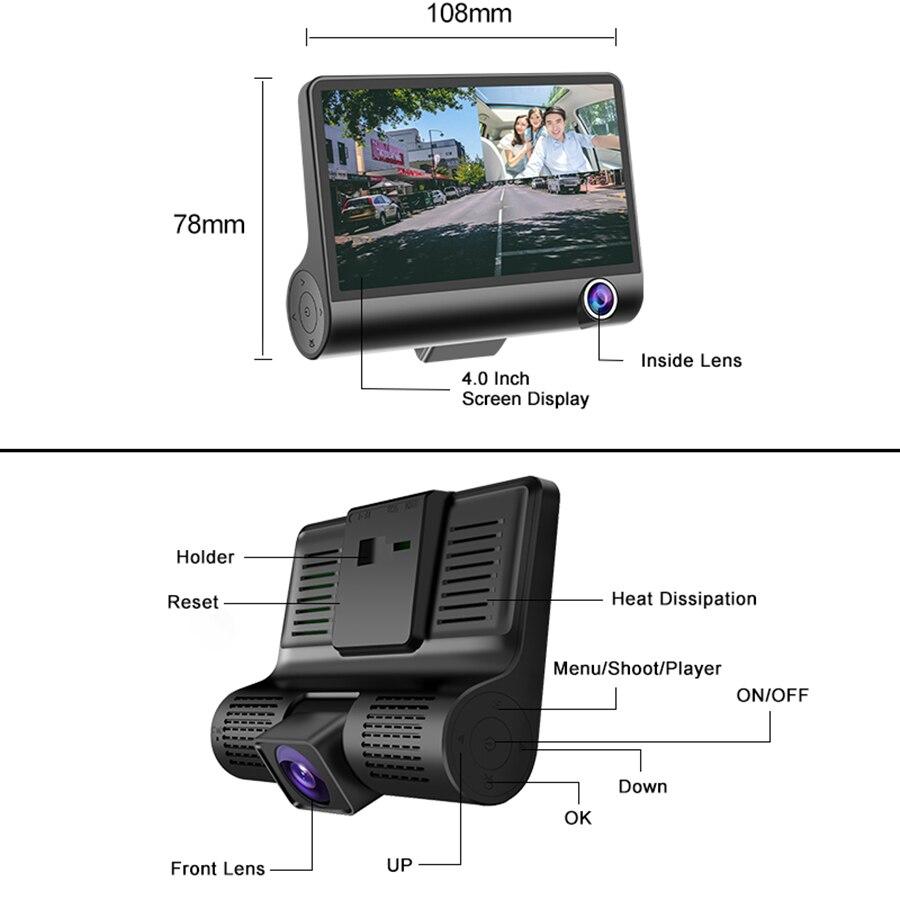 E-ACE B28 Car Dvr Dash Cam 4.0 Inch Video Recorder Auto Camera 3 Camera Lens With Rear View Camera Registrator Dashcam DVRs 5