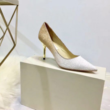 Woman Fashion Designer Brand Pumps Ladies Luxury Classic Style Sexy High Heels Sequined Vamp Pointed Toe Stiletto Shoes New 2020