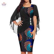 Платье женское хлопковое с коротким рукавом принтом в африканском
