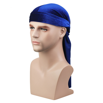 Velvet Long Tail Durag Men Turban Women Chemo Cap Breathable Bandana Hat Unisex Headwarp Elastic Indian Bonnet High Quality 6