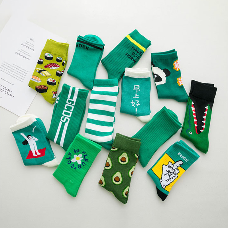 Harajuku Green Color Socks Women Fashion Cotton Socks Ankle Funny Socks Femme Streetwear Calcetines Meias Autumn Winter