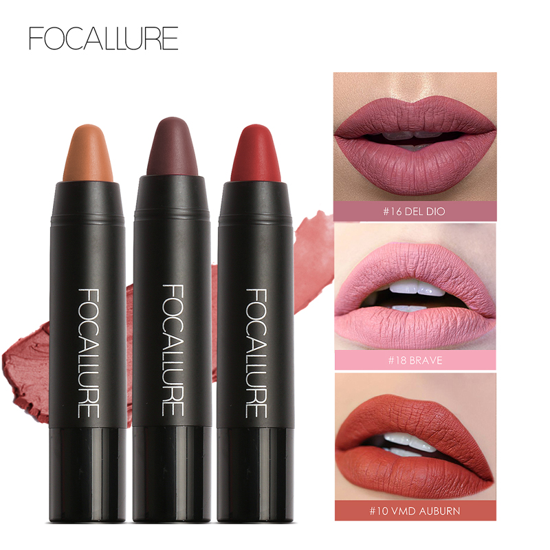 FOCALLURE Crayon Matte Lipstick Waterproof Long-lasting Professional Lipstick Nude Lips Tint Pigment 19 Colors Easy To Wear