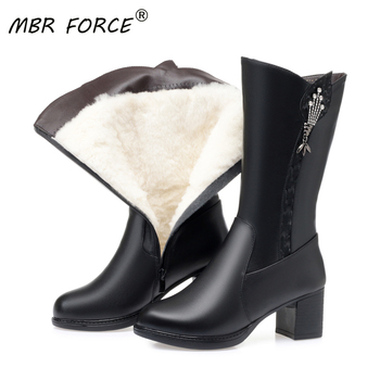 MBR FORCE Mid calf Wool Women Snow Boots Warm Genuine Leather Fur Warm Shoes Plush Boots Platform for Women Winter Boots Black asumer new arrive youth fashion height increasing mid calf boots for women high quality pu soft leather winter warm snow boots