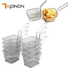 8 adet paslanmaz çelik cips derin kızartma sepetleri Mini süzgeç fritöz mutfak gereçleri şef sepet kevgir aracı patates kızartması sepeti