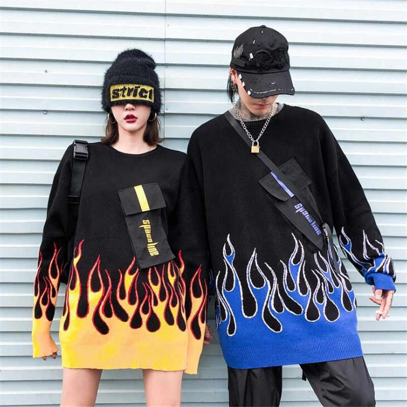 Hip-hopowe przednie kieszenie ogień płomień dzianinowe swetry męskie moda luźny pulower bluzy Streetwear sweter harajuku top z okrągłym dekoltem