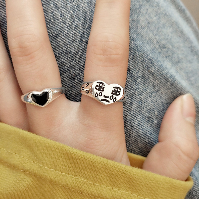 New Creative Cry Face Rings for Women Fashion Female Resizable Ring Jewelry Ladies Bar Night Club Jewelry Gifts Sad Love Ring