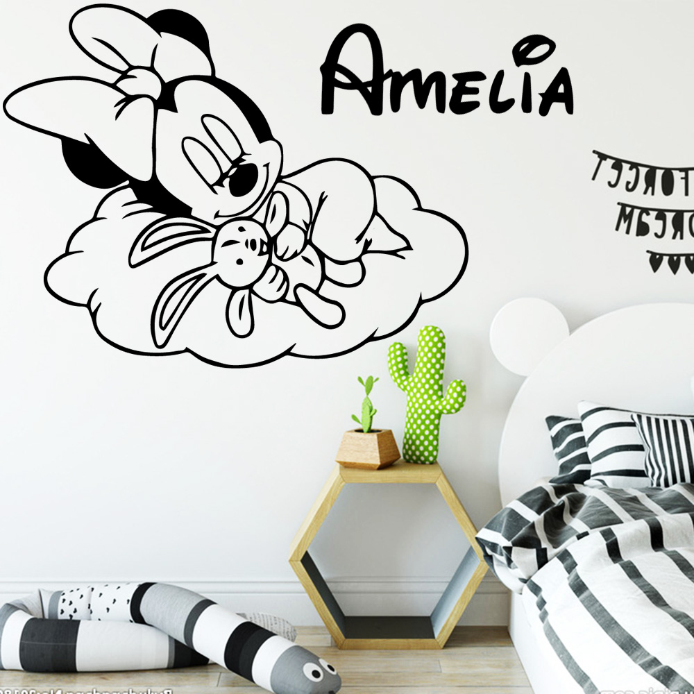 Personalized Custom Name Minnie Mouse Vinyl Wall Stickers Decor For Babys Room Kids Room Decoration Decal Wallsticker