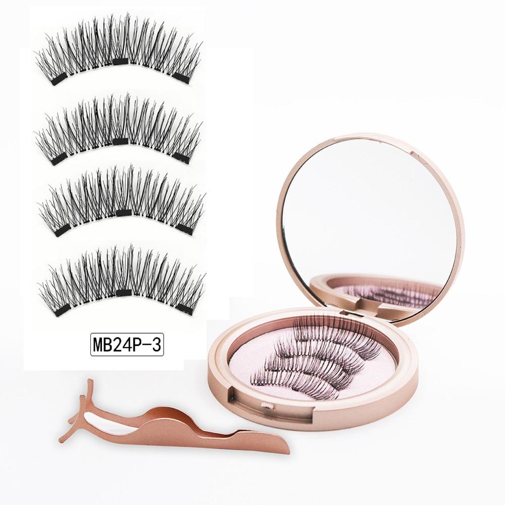 MB 3 Magnetic Eyelashes Natural Long Magneti Mink Eyelashes Set Hand Made 3D False Eye lashes tweezers faux cils magnetique 5