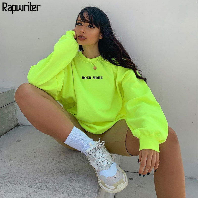 Rapwriter 2019 O-Neck Long Sleeved Oversize Harajuku Letter Fluorescent Green Sweatshirt Women Autumn Winter Thick Pullover Tops