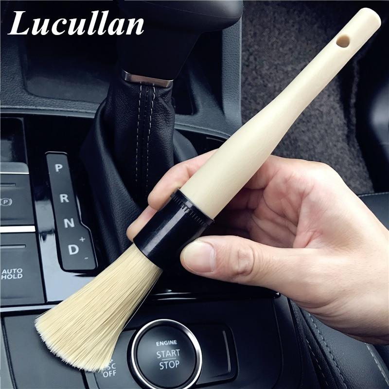 Lucullan Car Detailing Cleaning Brush Portable Handle Soft Bristle Brush Multi Cleaning Tools For Rims,Doors,Interior.