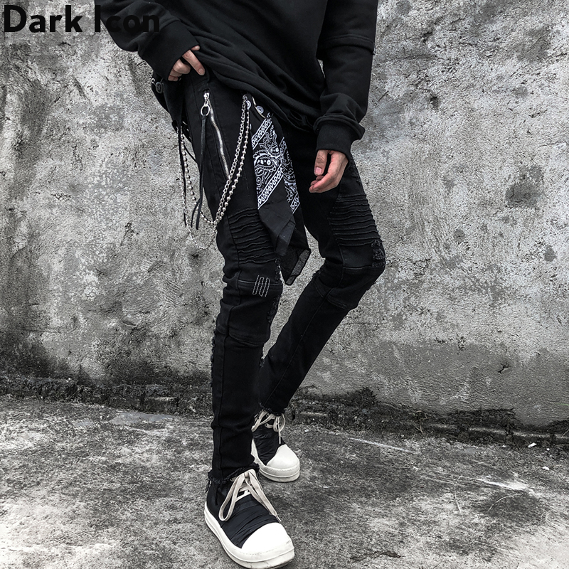 Dark Icon Motorcycle Jeans Men Denim Hip Hop Pants Ripped Men's Pants Side Zipper Pocket Street Trousers Streetwear