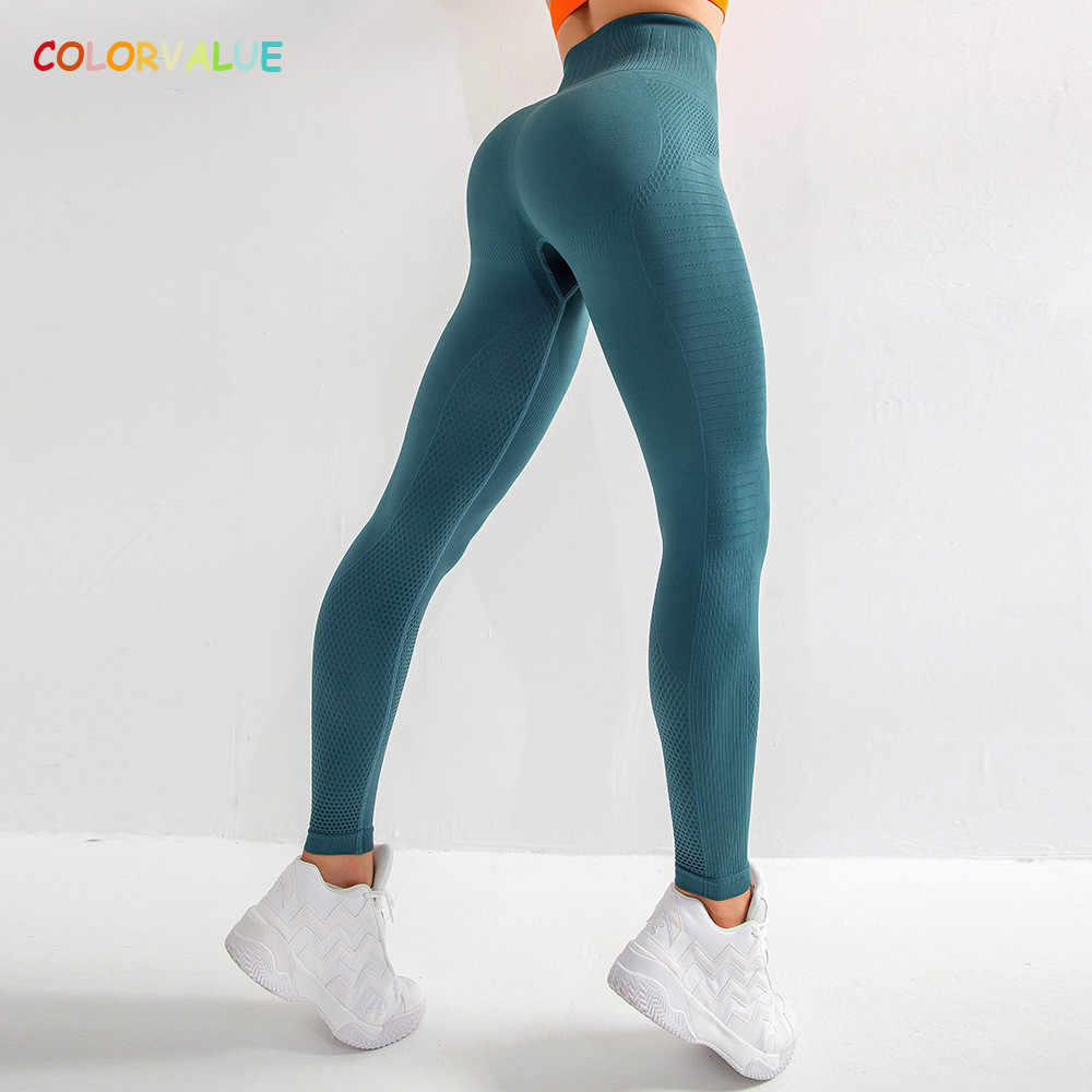 Colorvalue Naadloze Squatproof Fitness Gym Compressie Panty Vrouwen Ademend Hoge taille Sport Training Leggings Yoga Broek