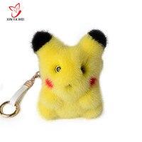Fashion Cute Real Mink Fur Pikachu Plush Keychain Chain Animal Pendant Woman Bag Charms Pompom Car Keychain Party Ring Gift