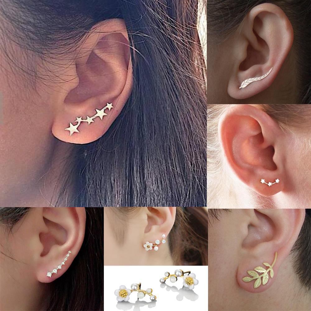Earrings For Women Fashion Pop Charm Sexy Star Dangler Stud Earring Trendy Wedding Gift Cute Sweet Girls Leaf Flowers