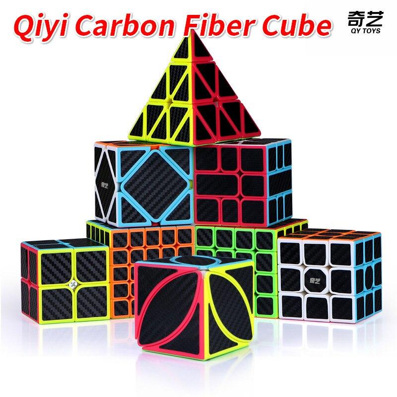 Qiyi cubo de fibra de carbono mágico 2x2x2 3x3x3 velocidade cubo 4x4x4 5x5x5 sq-1 pirâmide cubo X-CUBE folha quebra-cabeça neo cubo magico
