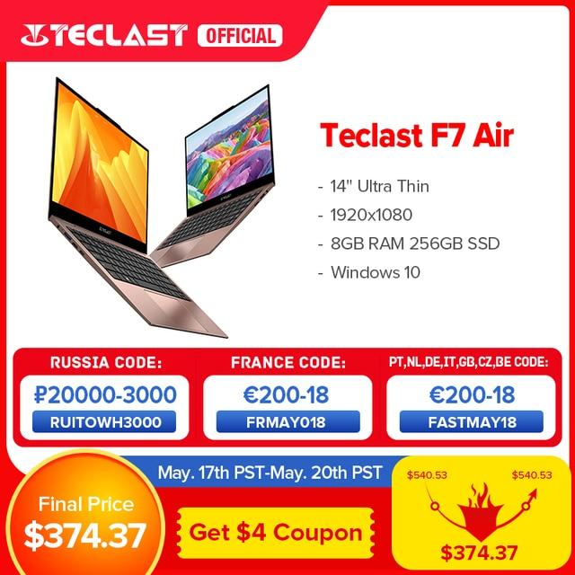 "Newest Teclast F7 Air Laptop 1.18KG 14"" 8GB LPDDR4 256GB SSD Intel N4120 Notebook 1920x1080 Windows 10 OS 180° Laptops Type-C 1"