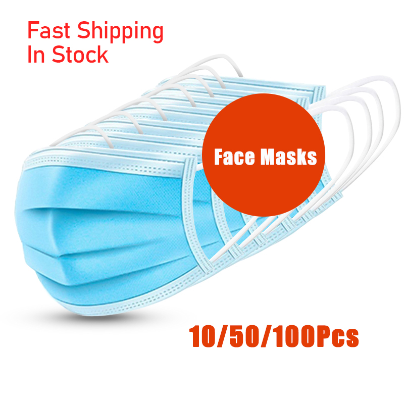 50/100Pcs In Stock Mask Disposable Nonwove 3 Layer Filter Mouth Face Mask Filter Safety Breathable Masks Mascarillas Masque