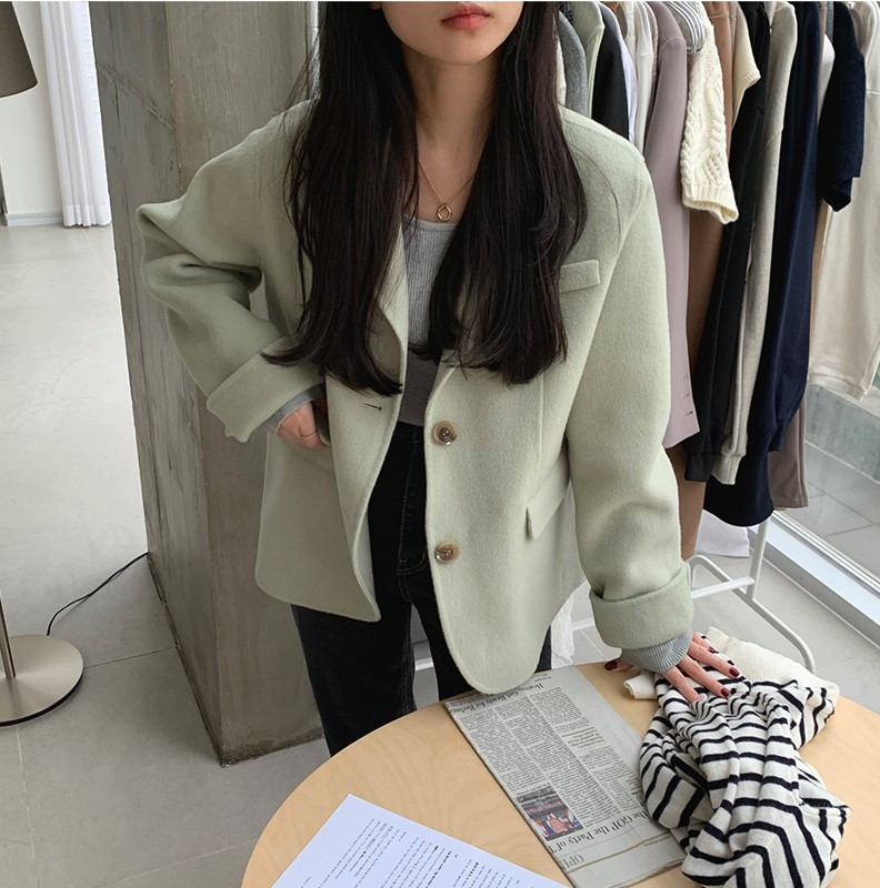 Hfc828b02264e4814b522eadcca9c5fddu - Winter Korean Revers Collar Solid Woolen Short Coat
