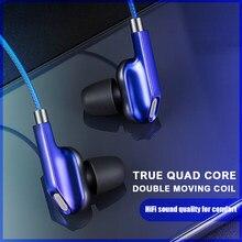 Fones de ouvido com fio quad-core fones de ouvido estéreo baixo fones de ouvido 3.5mm fone de ouvido música à prova dhifi água esportes fone de alta fidelidade