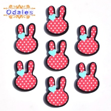10Pcs/lots Kawaii Rabbit Fashion Polka Dot Printed Resin DIY Crafts Flatback Cabochons Baby Girl Animal Headband Accessories