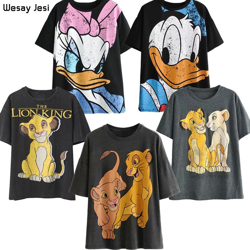T-shirt Women Summer Cartoon Vintage Lion King Print O-neck Short Sleeve T Shirt Harajuku Streetwear Cotton T-shirt Female Tops