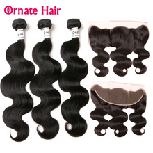 Ornate Hair Frontal With Bundles Body Wave Bundle With Frontal Closure Brazilian Human Hair Weave Bundles With Closure Free Part