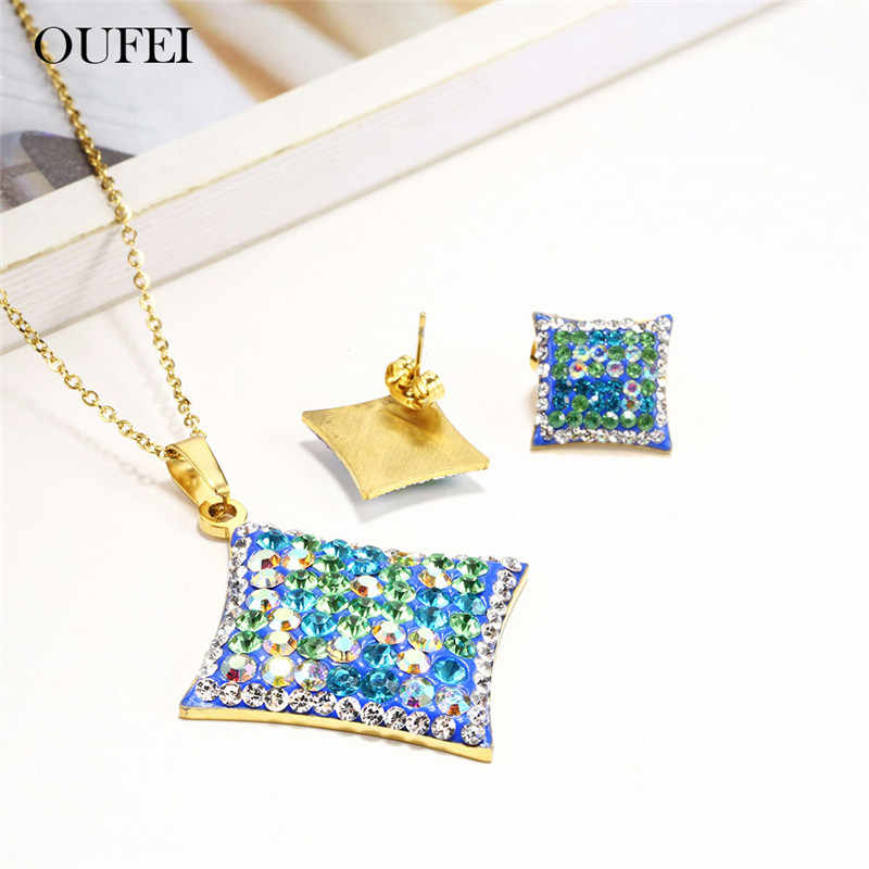 OUFEI Stainless Steel Jewelry Sets Pendant Necklace Set Of Earrings For Women Fashion Jewellery Summer Accessories