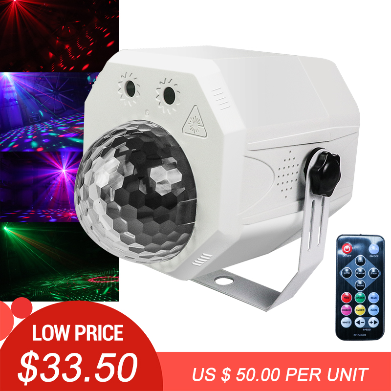10W LED Disco Light Music Stage Lights DJ RGB Laser Magic Ball Lamp Sound Activated Projector Effect Light For Christmas Party