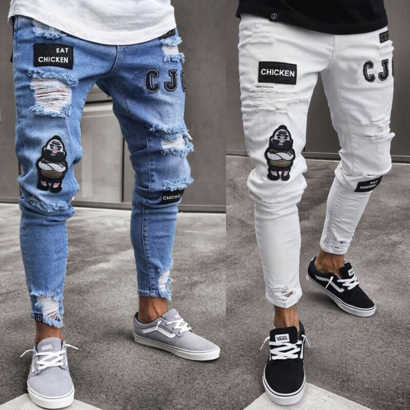2020 Hot Men Stretchy Ripped Skinny Biker Embroidery Print Jeans Destroyed Hole Taped Slim Fit Denim Scratched High Quality Jean