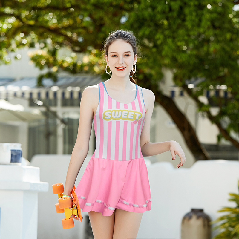 2019 New Style Miss Sunshine Brand Korean-style Lettered One-piece Big Kid Bathing Suit-Style Stripes Conservative CHILDREN'S Sw