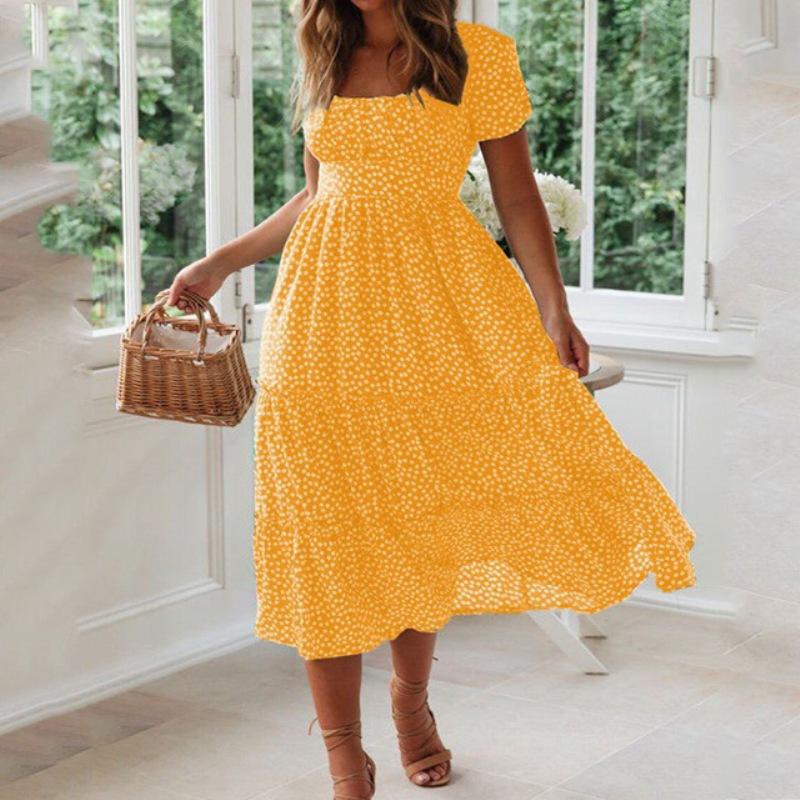 Vestidos Vintage Vintage Print Puff Sleeve summer Beach sweet dresses Casual Square collar floral maxi long dress 2020 festa