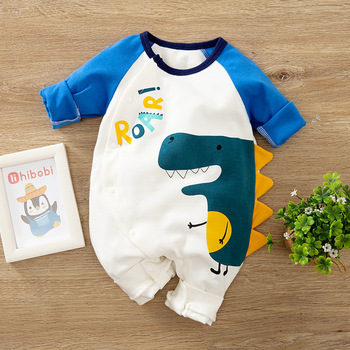 Newborn Baby Boy Clothes Cartoon Dinosaur Costume New born Girl Romper Onesie Toddler Fall 0 3 6 9 12 Month Jumpsuit Pajama image