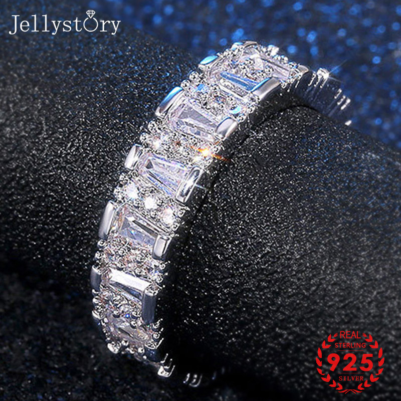 Jellystory Fashion Ring 925 Silver Jewellery with AAA Zircon Gemstones for Women Wedding Engagement Gifts Wholesales size 6-10