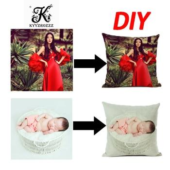DIY nuevo diseño de imagen aquí impresa, mascota, fotos de la vida personal de la boda regalo personalizado hogar funda de cojín funda de almohada