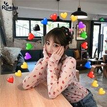 Ruoru Korean Style Women Sexy Harajuku Mesh Tops Net See Through T Shirt Transparent Undershirt Base Top Camisas Femininas