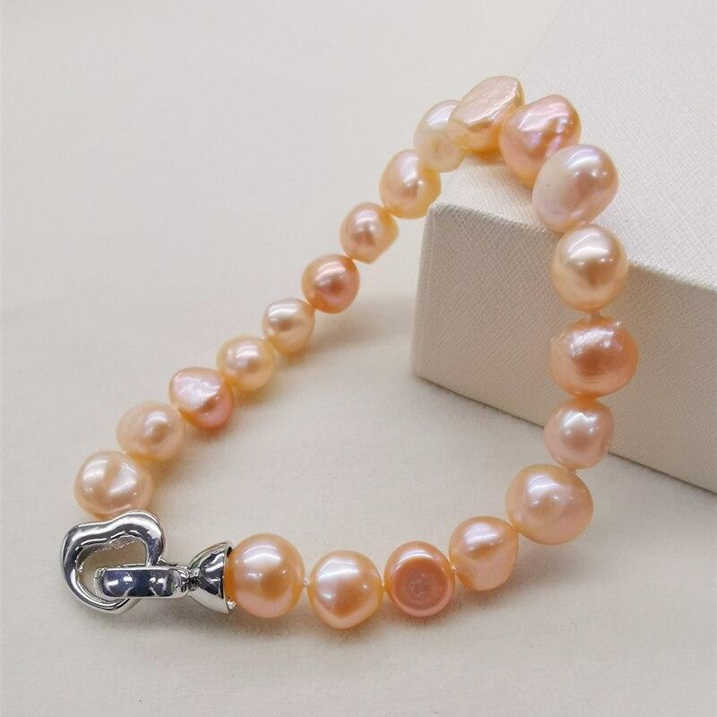 DMBFP155 браслет из натурального пресноводного жемчуга, черный/белый/розовый/фиолетовый жемчужный браслет, ювелирные изделия из тонкого жемчуга для женщин