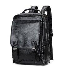 Mochila De cuero de moda para hombre y mujer, morral de viaje impermeable para ordenador portátil, bolso para adolescentes