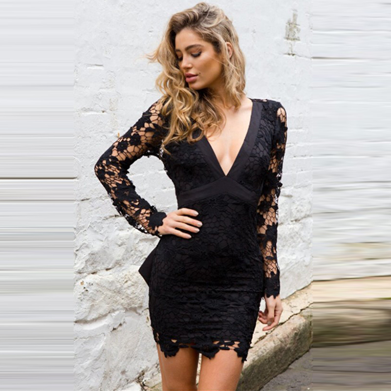 Summer <font><b>Backless</b></font> Slim <font><b>Lace</b></font> <font><b>Dress</b></font> Women Solid Deep V-Neck Bodycon <font><b>Dress</b></font> Female Fashion <font><b>Hollow</b></font> Out Party <font><b>Sexy</b></font> <font><b>Dresses</b></font> For Ladies image