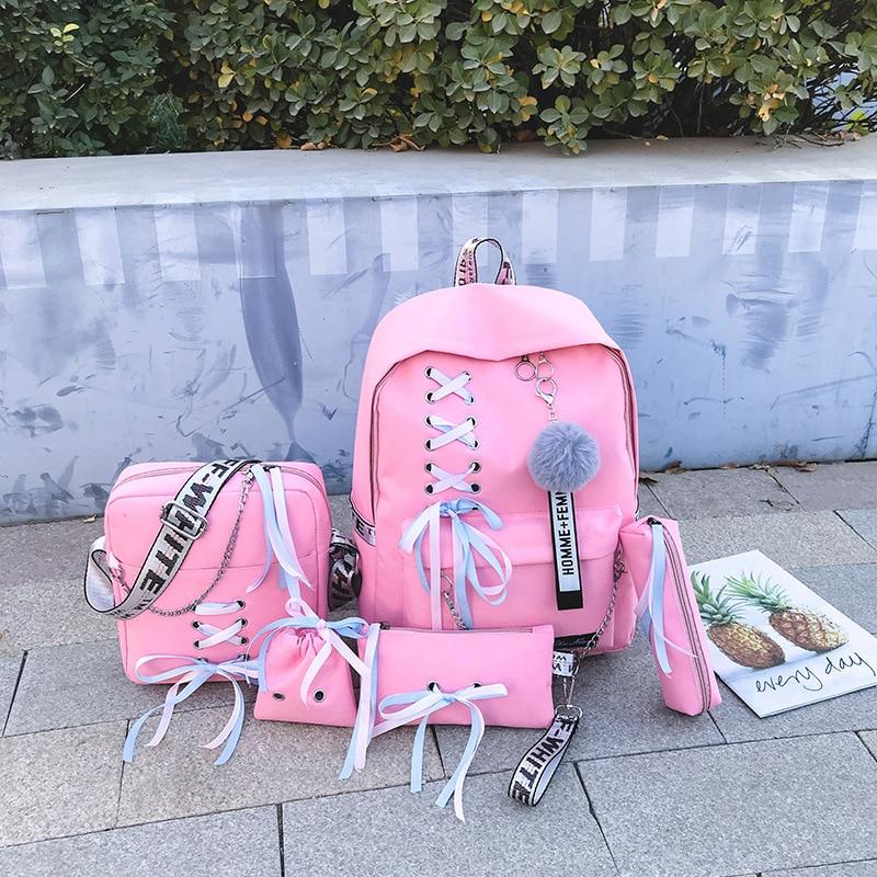 Chain Canvas Female Book Bag Backpack 5pcs/set School Bag Schoolbag Travel Pack Fashion Tassel Women Teenage Teenagers Girl 2019