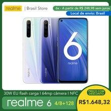Ship from Brazil! realme 6 8GB 128GB - 30W EU Flash Charge 4300mAh Helio G90T 64MP Camera NFC Play Store