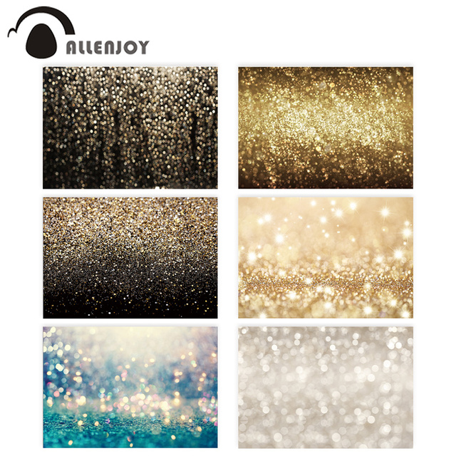 Allenjoy party Glttter photography backdrop Birthday bokeh gold black shiny wedding photo background studio photocall shoot prop