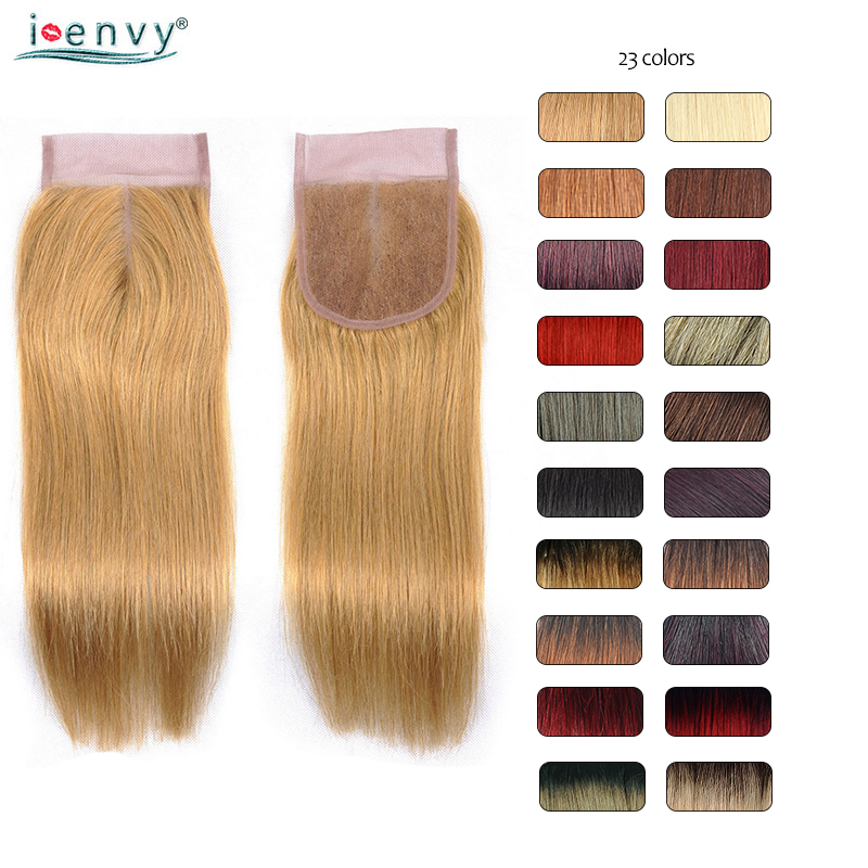 Colored Closures Blonde 100% Brazilian Human Hair Straight 10-20 Inches Red Ombre 4*4 Lace Closure Purple Non-remy Free Shipping