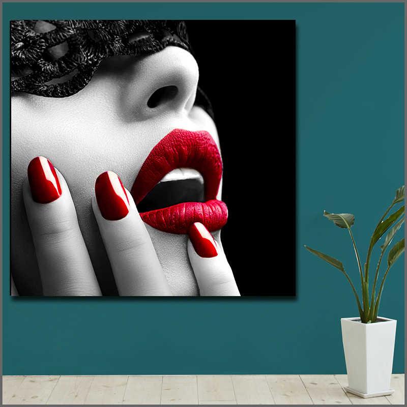 Скандинавские настенные художественные картины принты на холсте Модные женские сексуальные красные губы ногти художественные плакаты красота МАГАЗИН домашний Декор без рамки