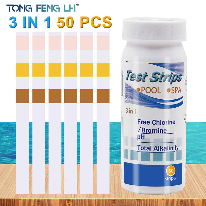 3-In-1 KOLAM RENANG Kertas Uji Residual Chlorine Nilai PH Alkalinitas Hardness Test Strip Botol 50 Hot Tub Kualitas Air