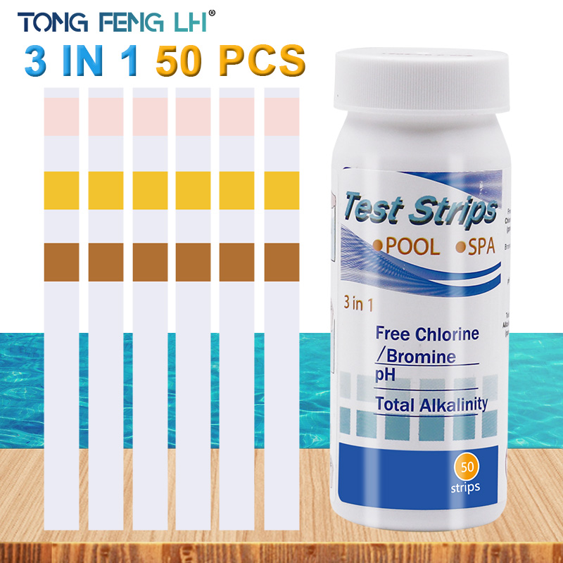 3-In-1 Swimming Pool Test Paper Residual Chlorine PH Value Alkalinity Hardness Test Strip A Bottle Of 50 Hot Tub Water Quality